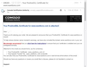 SSL Certificate email