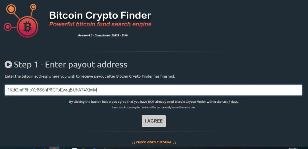 bitcoin crypto finder scam