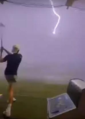 lightning strikes golf ball in mid-air